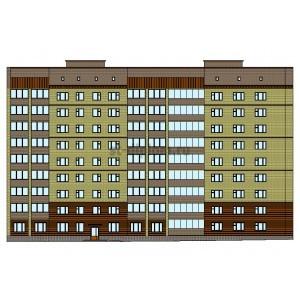 9-этажный жилой дом из кирпича на 72 квартиры в г.Гатчина
