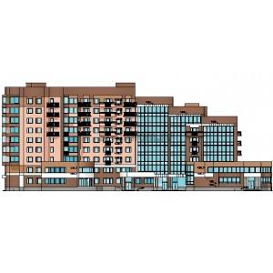 Жилой дом переменной этажности со встроенно-пристроенными помещениями в г.Архангельск