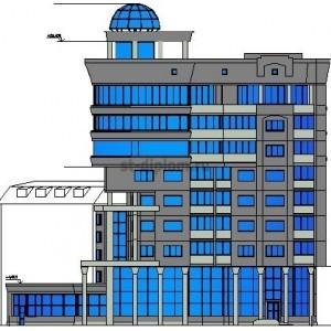 Многоэтажная жилая угловая секция с помещениями общественного назначения в г. Архангельск