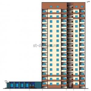 16-ти этажный жилой дом с пристроенным магазином в г. Рязань