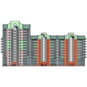 Разноэтажный жилой дом в микрорайоне Невский в г.Барнаул
