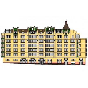 Жилой комплекс с двухуровневой подземной автостоянкой, магазином и фитнес-центром в г.Москва
